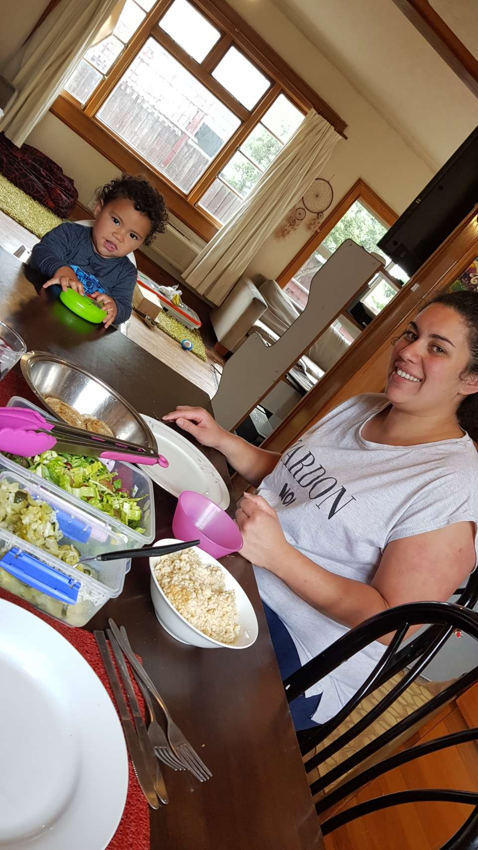 Activity completed: NourishAmount: Ate a delicious lunchSession 5 with Rachel today, we chatted and made bliss balls. Her whanau loved the ones we made last Kai session and so she's been making batches up for them ever since! So awesome cause they are such a yummy healthy treat, then she cooked us a delicious lunch with pan seared tarakihi, salad and brown rice!   #activityNourish