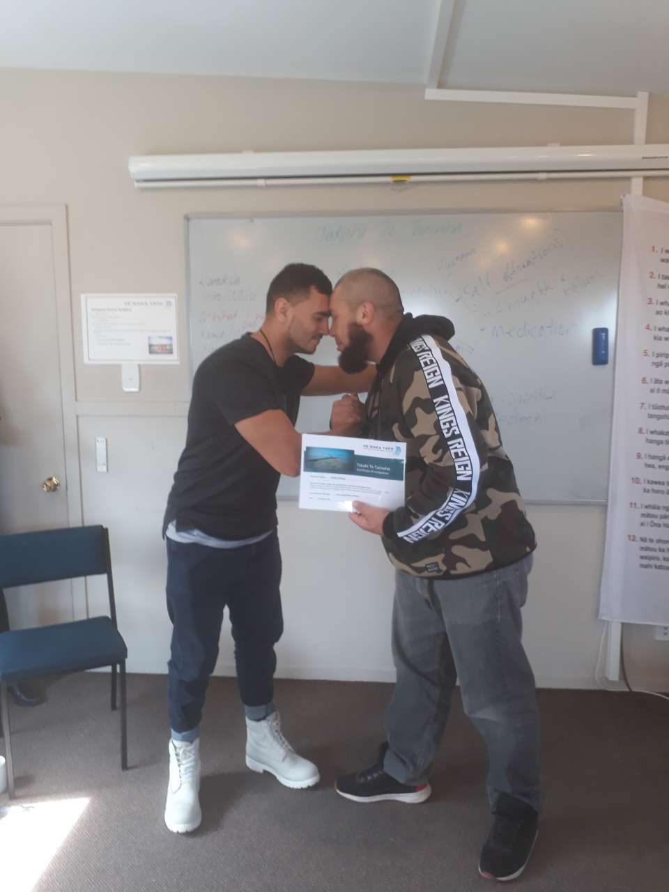 Huge mihi to Dallas Te Rangi for graduating on the Takahi Te Taniwha (TTT)Kei te mihi nui ki a Dallas well done!This is your chance now to practice what you have added to your kete. Keep beating that flew matua! Tena koe!ALSO there's your hongi photo you wanted :)  #TTTGRADUATE:)