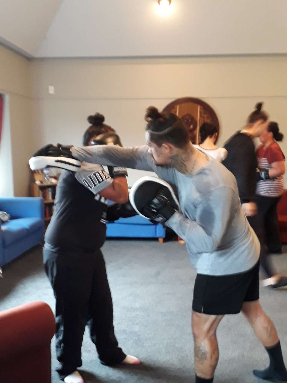 Boxing session with Tyler this morningThey love her class..... so focused